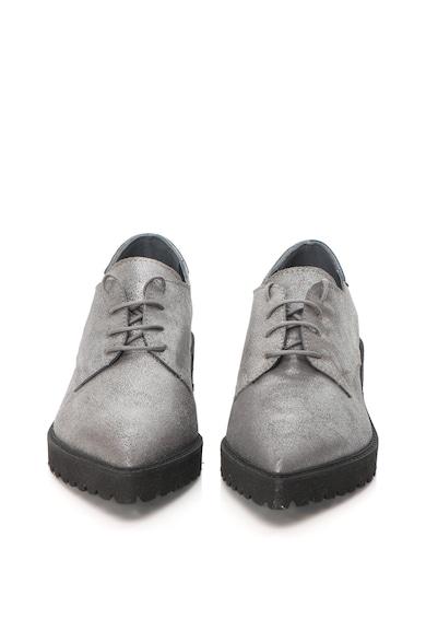 Mihaela Glavan Pantofi de piele cu varf ascutit si aspect stralucitor Femei