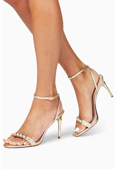 NEXT Sandale slingback metalizate cu perle Femei