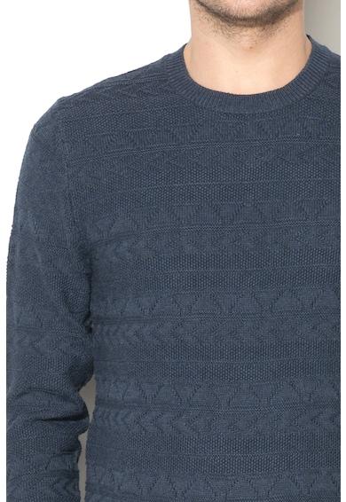 Esprit Pulover texturat cu decolteu la baza gatului si mansete striate elastice Barbati