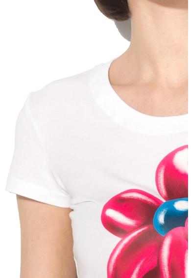 Love Moschino Tricou cu decolteu rotund si imprimeu Femei