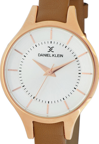 DANIEL KLEIN Ceas analog rotund cu o curea de piele Femei