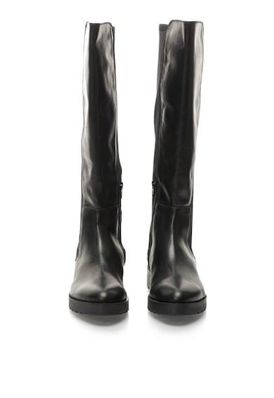 Oakoui Cizme negre inalte pana la genunchi elastice in partea din spate Femei