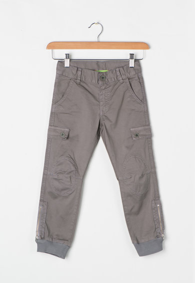 Zee Lane Kids Pantaloni cargo gri cu mansete striate Baieti