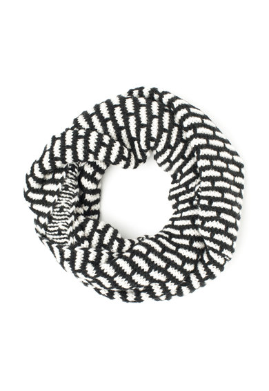 United Colors of Benetton Fular circular negru cu alb din amestec de lana Femei