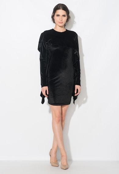 Zee Lane Collection Rochie neagra catifelata cu volane Femei