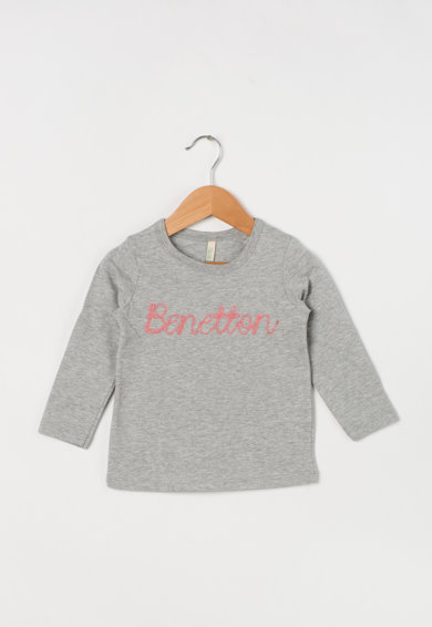 United Colors of Benetton Bluza din bumbac organic cu logo brodat Fete
