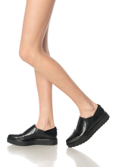 Calvin Klein Pantofi flatform slip-on negri de piele Vikki Femei