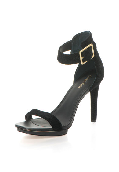 Calvin Klein Sandale negre din catifea cu model sarpe Vable Femei