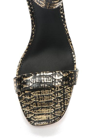 Calvin Klein Sandale auriu cu negru de piele cu model sarpe Vable Femei