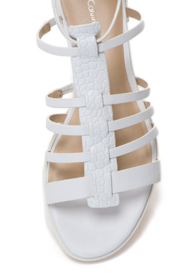 Calvin Klein Sandale gladiator albe din piele Samantha Femei
