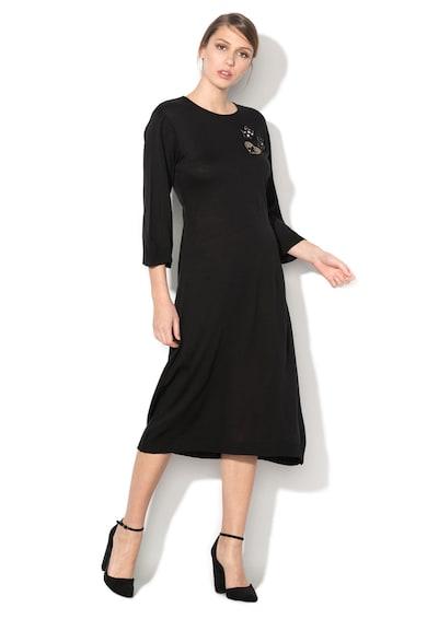 Rinascimento Rochie neagra tricotata fin cu aplicatii stralucitoare Femei