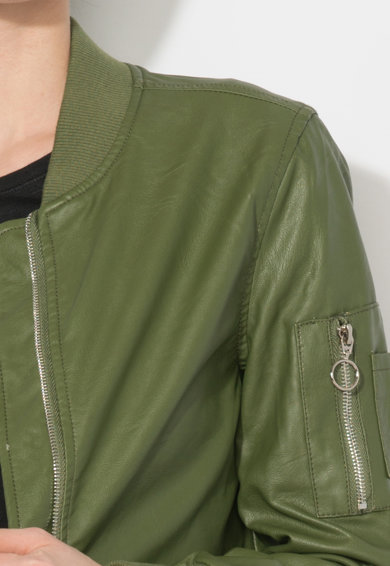 Zee Lane Denim Jacheta bomber verde de piele sintetica Femei