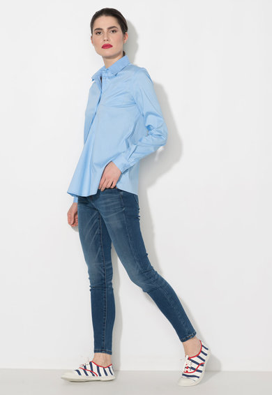 Zee Lane Denim Camasa albastra cu buzunar pe piept Femei