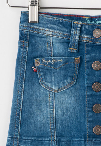 Pepe Jeans London Fusta albastra din denim cu aspect decolorat Dana Fete