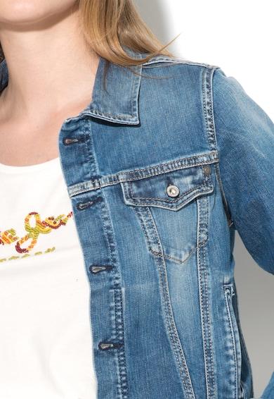 Pepe Jeans London Jacheta albastra din denim cu detalii decolorate Core Femei