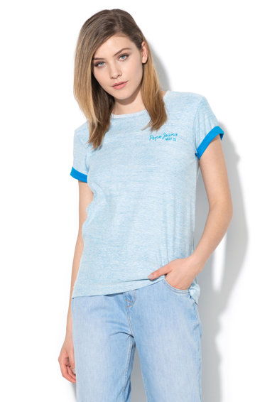Pepe Jeans London Tricou albastru melange Pipi Femei