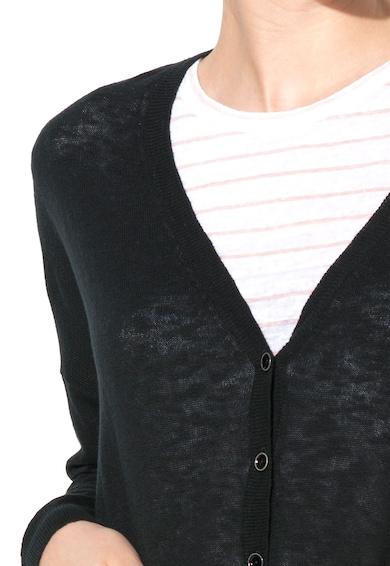 United Colors of Benetton Cardigan negru tricotat fin cu buzunare Femei
