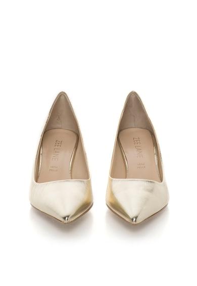 Zee Lane Pantofi aurii de piele cu toc kitten Femei