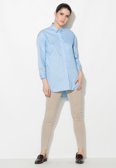 Zee Lane Denim Camasa albastru pastel cu buzunar pe piept Femei