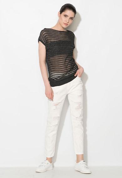 Zee Lane Denim Bluza neagra transparenta tricotata fin Femei