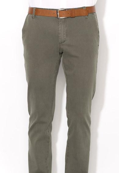 Zee Lane Denim Pantaloni chino verde oliv inchis in dungi Barbati