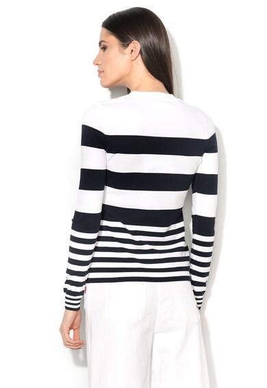 Love Moschino Pulover bleumarin inchis cu alb tricotat fin Femei