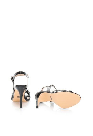 Buffalo Sandale negre cu toc inalt si particule stralucitoare Femei