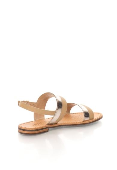 Geox Sandale slingback maro camel cu auriu de piele Sozy Femei