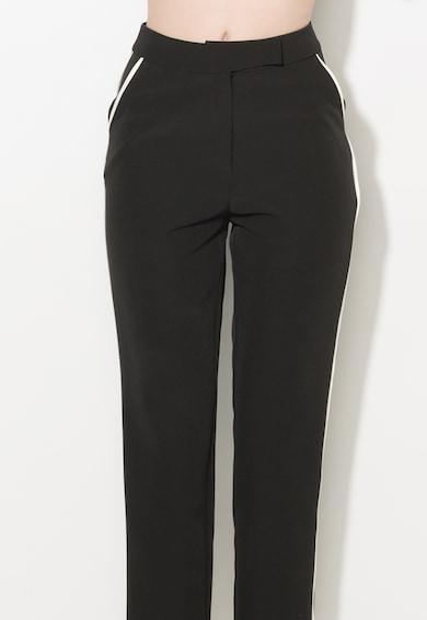 Zee Lane Collection Pantaloni crop negri cu garnituri tubulare Femei