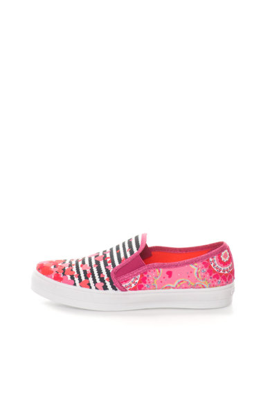 DESIGUAL Pantofi slip-on roz cu imprimeu floral si in dungi Fete