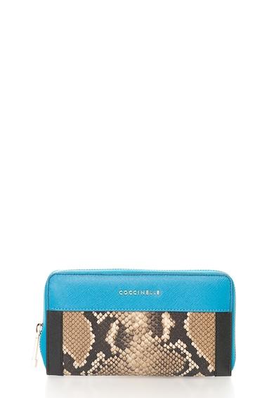 COCCINELLE Portofel acordeon albastru cu maro de piele Colorfull Femei