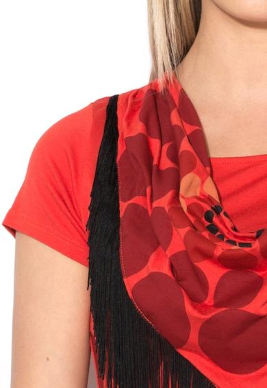 DESIGUAL Tricou in nuante de rosu cu franjuri Esperanza Femei