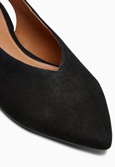 NEXT Pantofi slingback negri din piele intoarsa cu varf ascutit Femei