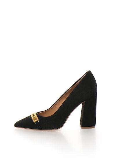 Love Moschino Pantofi negri de piele intoarsa cu toc masiv Femei