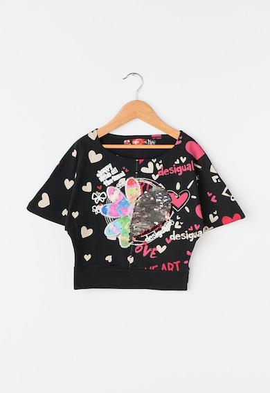 DESIGUAL Tricou negru cu maneci liliac Kitchener Fete