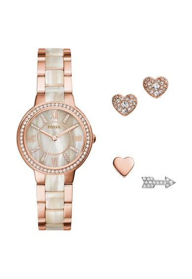Fossil Set de ceas si cercei cu tija auriu rose cu bej Femei