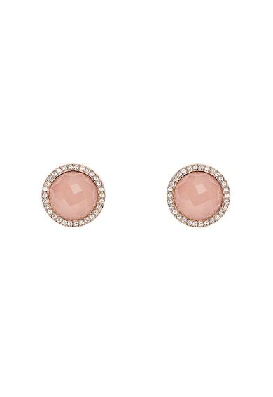 Fossil Cercei auriu rose cu pietre roz Femei