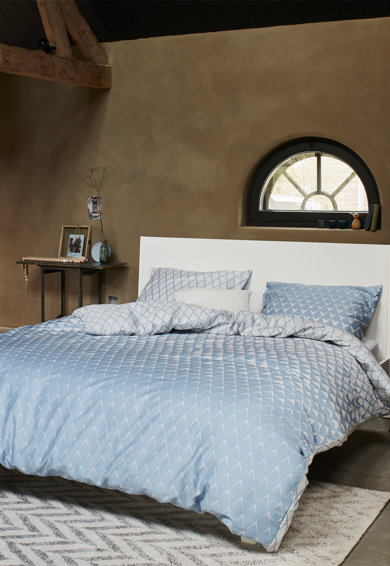 ESPRIT home Lenjerie de pat cu model geometric Mina, Albastru/Alb Femei