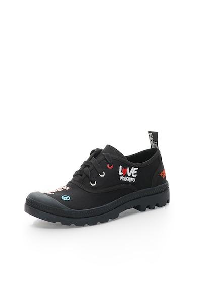 Love Moschino Pantofi negri din panza cu broderie Femei