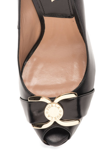 Furla Pantofi wedge negri din piele Meridienne Femei