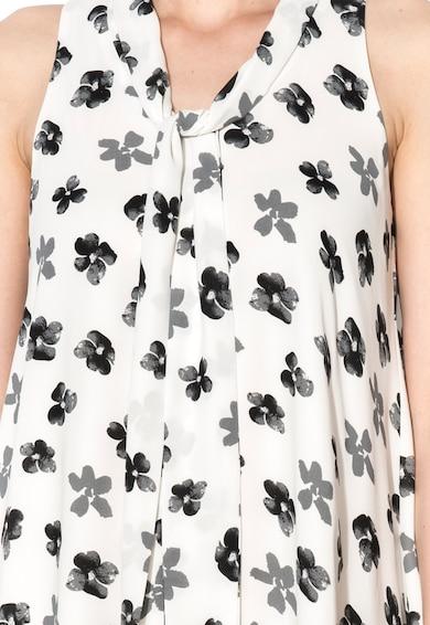 Zee Lane Collection Rochie alb cu imprimeu si guler tip esarfa Femei