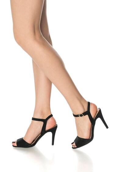 NEW LOOK Sandale negre de piele intoarse Streamed Femei