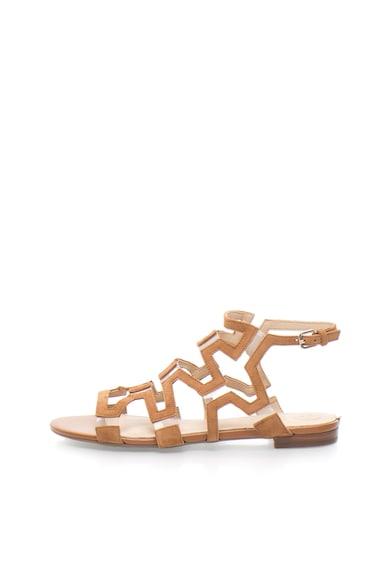 Guess Sandale maro camel de piele intoarsa cu insertii transparente Femei