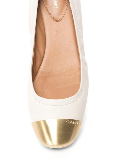 Calvin Klein Balerini ecru cu auriu de piele Fiana Femei