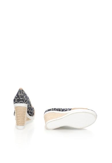 Calvin Klein Jeans Sandale wedge bej cu bleumarin Electra Femei