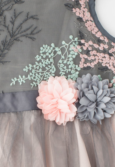 Yumi Rochie tutu cu broderii si aplicatii florale Fete
