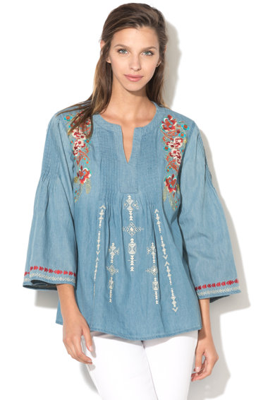 DESIGUAL Bluza din chambray cu flori brodate Leslie Femei