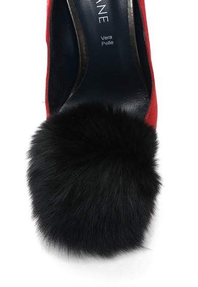 Zee Lane Pantofi stiletto de piele intoarsa cu varf ascutit si aplicatie de blana Anne Femei